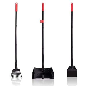 PAWCHIE Pet Poop Tray and Rake - Large Dog Pooper Scooper with Spade - 1 Metal Tray and 2 Rakes Set - 37.4 Inches Long Handle for Waste Removal 2