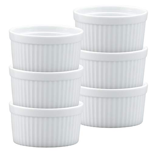 HIC Ramekins, Fine White Porcelain Souffle, 3.5-Inch, 6-Ounce Capacity, Set of 6