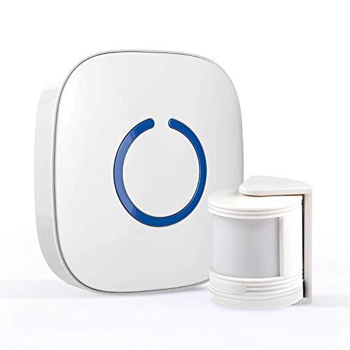STARPOINT Expandable Wireless Doorbell Mini Motion Sensor Chime System - Base Starter Kit, 52 Chime Tunes, 4 Loud Levels, LED - 1 x Plugin Receiver 1 x Mini Motion Sensor, White