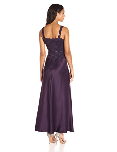 31XUHs0payL Two-piece set featuring combo dress and lacy jacket A-line dress features square neckline and beaded bodice Open-front jacket featuring scalloped trim and cropped sleeves