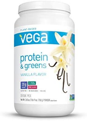 Vega Protein and Greens Vanilla (25 Servings, 26.8 Ounce) - Vegan Plant Based Protein Powder Shake, Gluten Free, Non Dairy, Non Soy, Non GMO 1