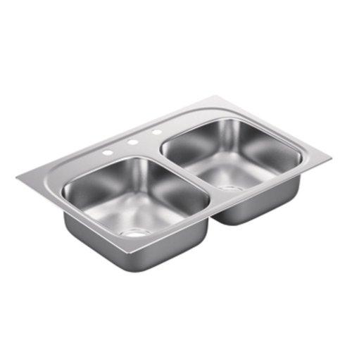 Moen G222173 2200 Series 22 Gauge Double Bowl Drop In Sink, Stainless Steel