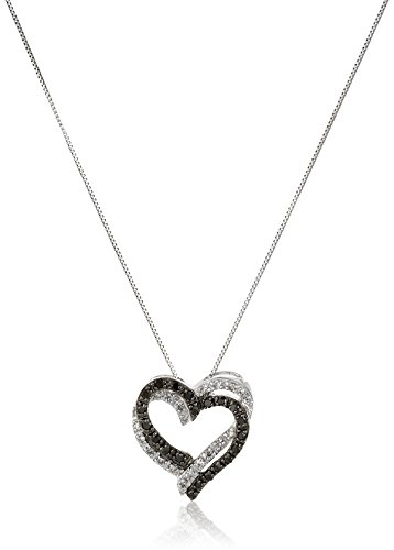10k white gold black and white diamond double heart pendant necklace 10k white gold black and white diamond double heart pendant necklace 15 cttw i j color i2 i3 clarity black diamonds jewelry mozeypictures Image collections