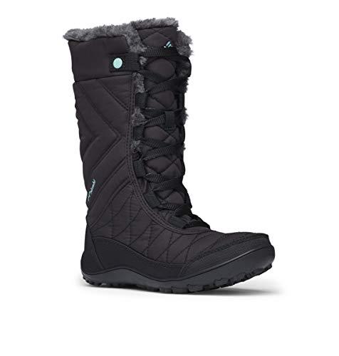 Columbia Girls' Youth Minx MID III Waterproof Omni-Heat Snow Boot, Black, Iceberg, 4 Regular US Big Kid