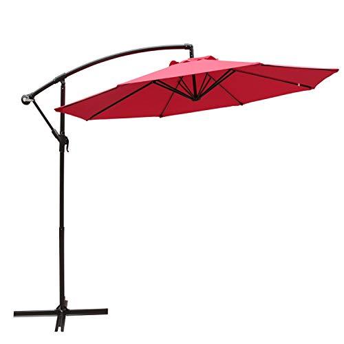COBANA 10' Offset Hanging Patio Umbrella Freestanding Outdoor Parasol Adjustable Umbrella, 250g/sqm Polyester, Red