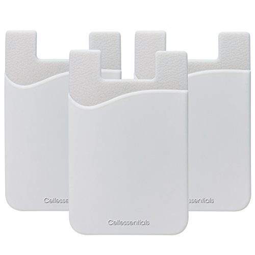 Cellessentials Card Holder for Back of Phone - Silicone Stick on Cell Phone Wallet with Pocket for Credit Card, ID, Business Card - iPhone, Android and Most Smartphones - 3 Pack(White)