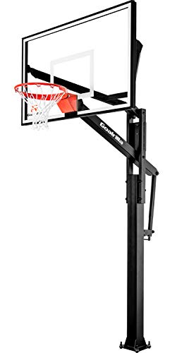 Goalrilla FT60 Basketball Hoop with Tempered Glass Backboard, Black Anodized Frame, and In-ground Anchor System