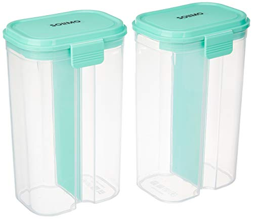 31YvEjSFzQL - Amazon Brand - Solimo Double Partitioned Storage Container Set (2 pieces, 2L)