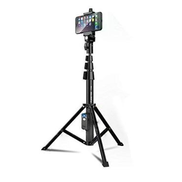 """Selfie Stick & Tripod Fugetek, Integrated, Portable All-In-One Professional, Heavy Duty Aluminum, Lightweight, Bluetooth Remote For Apple & Android Devices, Non Skid Tripod Feet, Extends To 51"""", Black"""