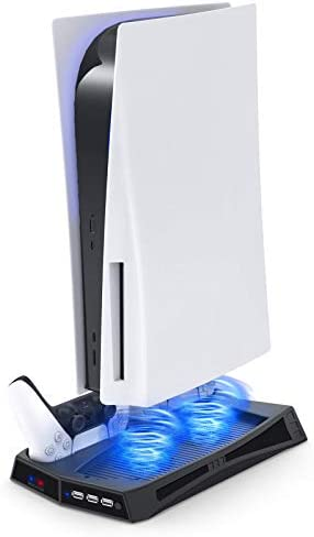 Vertical Stand with Cooling Fan for PS5 Console and PlayStation 5 Digital Edition, YUANHOT Charging Station Dock with Dual Controller Charger Ports and Cooling System for PS5 and DualSense