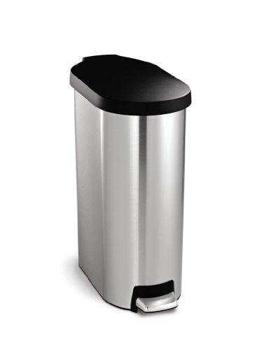 simplehuman 45 litre slim step can - plastic lid - stainless steel