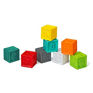 This colorful set is full of play possibilities. 8 blocks feature a different engaging sight on every side. And, the reusable grab-and-go tote bag is perfect for travel.