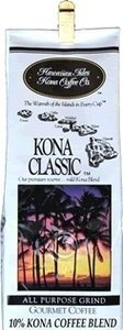 Hawaiian Isles Value Pack Coffee Ground Kona Classic 4 Bags by Hawaiian Isles Kona Coffee