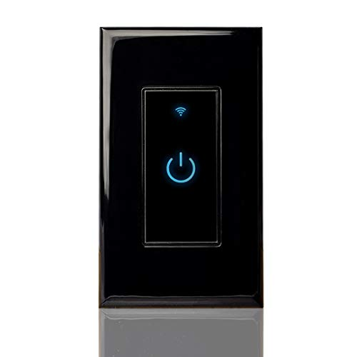 Smart Wi-Fi Light Switch, Alexa Google Home Compatible, iOS Android Smartphone Wireless Remote Control, No Hub Required, Timer Function, Touch Switch On Off, In-Wall, 1 Gang, Single Pole, 15A (Black)