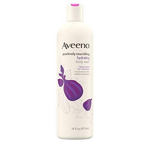 Aveeno Positively Nourishing Hydrating Body Wash for Dry Skin with Natural Fig & Shea Butter, Lightly Scented Daily Moisturizing Body Wash, 16 fl. oz