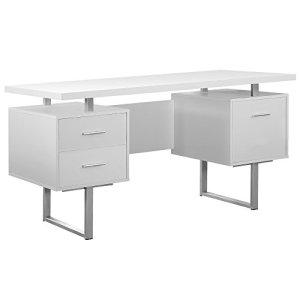 Monarch Specialties White Hollow-Core/Silver Metal Office Desk, 60-Inch