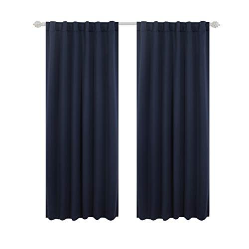 Deconovo Solid Back Tab and Rod Pocket Curtains Blackout Curtains Thermal Insulated Drapes and Curtains for Kids Bedroom 52x63 Inch Navy Blue 1 Pair