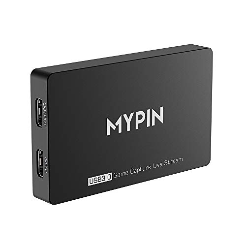 MYPIN 4k@60fps HD HDR Game Capture USB 3.0 Video Passthrough Record in 1080P 60fps with Gamepad Audio Record, Live Video Streaming Compatible with PS3/ PS4 /Xbox One 360 /Wii U