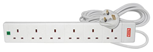 31bSjj9%2BXLL - Mercury | 6 Gang Extension Lead with Surge Protection | 5 Metre