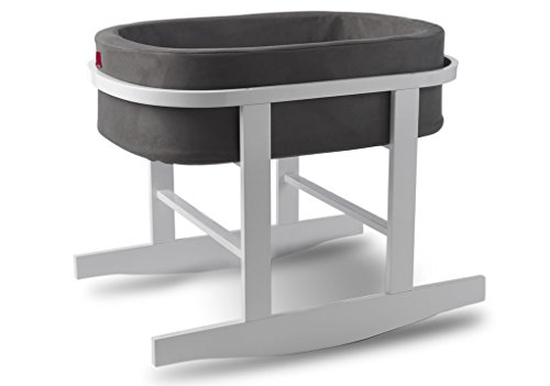 Ninna Nanna Bassinet in Charcoal with White Base by Monte Design