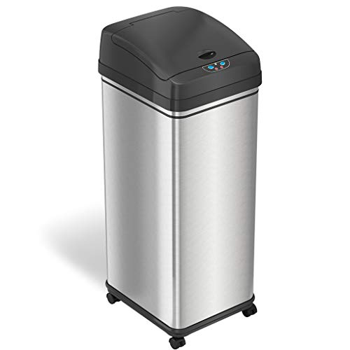 iTouchless Glide 13 Gallon Sensor Trash Can with Wheels and Odor Control System, Stainless Steel, Automatic Kitchen Bin and Office Garbage Can (Powered by Battery or Optional AC Adapter)