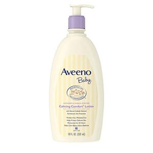 Aveeno Baby Calming Comfort Moisturizing Lotion with Relaxing Lavender & Vanilla Scents, Non-Greasy Body Lotion with… 31bsHyLQ6DL