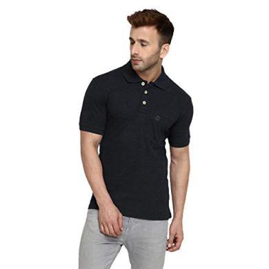 CHKOKKO Men's Half Sleeves Plain Polo Collar Cotton T-Shirts with Pocket 37