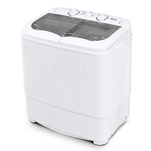 Della Mini Electric Washing Machine Home Twin Tub 8.8LBS Portable Compact Washer & Spin Dry Cycle Built-in Pump w/Hose, White