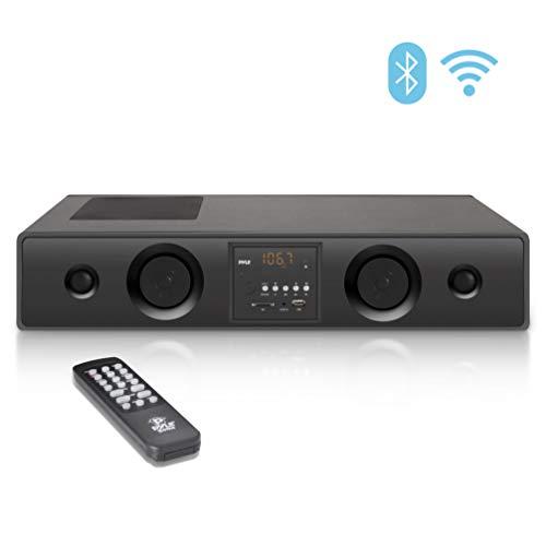 Pyle 3D Wireless Bluetooth WiFi Soundbar Speaker -2019 Premium 300W 3D Surround Audio Sound Bar System w/ 5 Speakers, Radio, USB, RCA, AUX, Remote Control, For Home Theater, TV, 23.8' Pyle PSBV210WIFI