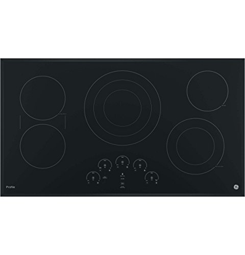 GE PP9036DJBB 36 Inch Electric Cooktop with 5 Radiant, Bridge SyncBurners, 6'/9'/12 Inch Tri-Ring, 5'/8 Inch Power Boil Element, Red LED Touch Controls, ADA Compliant Fits Guarantee
