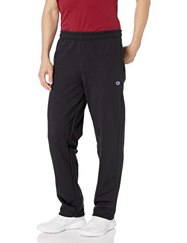 Champion Men's Powerblend Open Bottom Fleece Pant, Black, 2XL