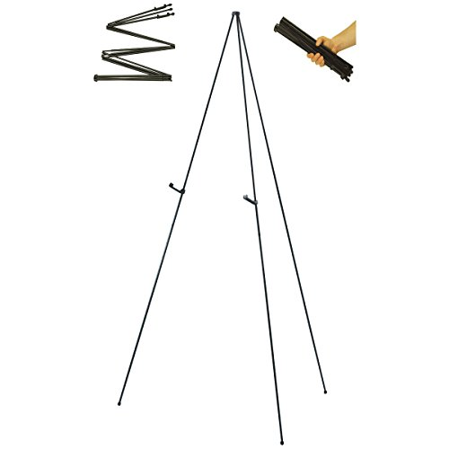 "US Art Supply""Easy-Folding Easel"" Black Steel 63"" Tall Display Easel"