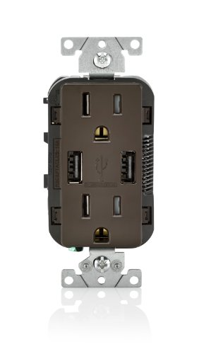 Leviton T5632 15-Amp USB Charger/Tamper Resistant Duplex Receptacle, Brown
