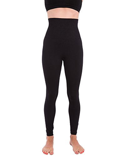 Homma Activewear Thick High Waist Tummy Compression Slimming Body Leggings Pant (Medium, Black)