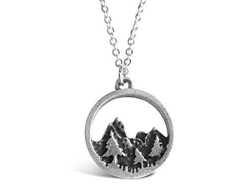 "Rosa Vila Forest Necklace, Pine Tree and Mountain Jewelry for Women, Outdoor Enthusiast Gifts, for Birthdays, Holidays, and More, Mountains Necklace for Women with 19"" Chain"