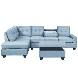 Bellemave Sectional Sofa, 3 Piece Sectional Sofa with Chaise Lounge Storage Ottoman and Cup Holders, for Living Room. (Blue)