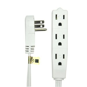 BindMaster 10 Feet Extension Cord / Wire, 3 Prong Grounded, 3 outlets, Angeled Flat Plug , White