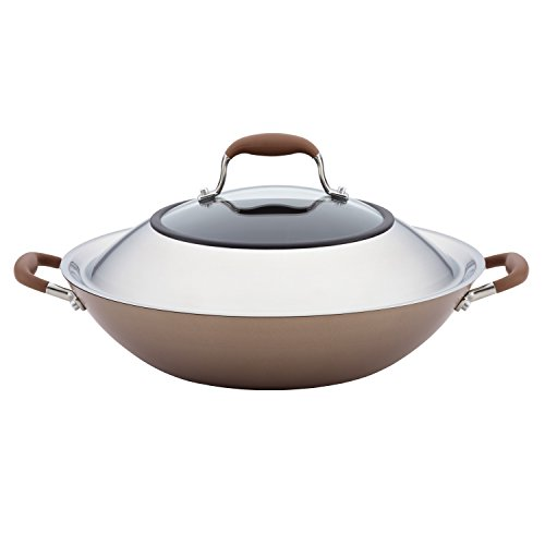 Anolon 84058 Advanced Hard Anodized Nonstick Stir Fry Wok Pan with Lid, 14 Inch, Bronze Brown
