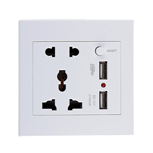 PC 2.1 A 2 USB Wall Socket Charger Power Panel Receptacle 5 Outlet Switch (White) 185