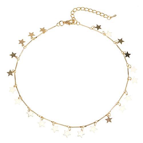 LUOEM Collar Boho Mujeres Gargantilla Oro Cadena Estrella Gargantilla Collar Joyas para mujer