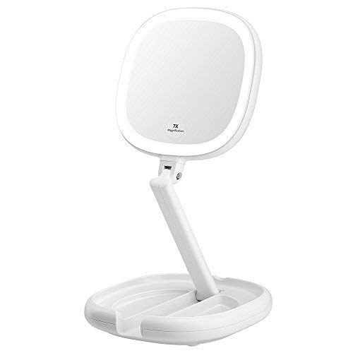 KEDSUM 1X/7X Double Sided LED Lighted Folding Makeup Mirror, Tabletop Dimmable Travel Mirror with Lights, Batteries or USB Charging, 180°Rotation
