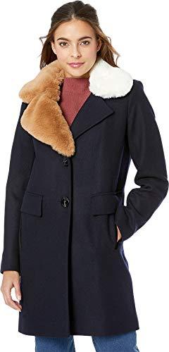 Sam Edelman Asymmetrical Faux Fur Walker w/Two-Tone Fur Collar Navy 4