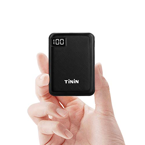 Mini Portable Charger Battery 10000mAh Power Bank USB External Battery Packs with Dual USB Output 2.1A for IPhone IPad Samsung Galaxy Google LG Phones Tablet [UL Certified Wall Charger Included] TININ