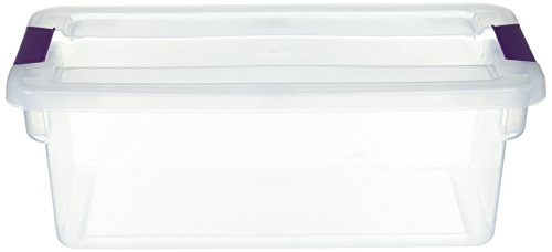 STERILITE 17511712 6 Quart Clearview Latch Storage Container with Plum Handles