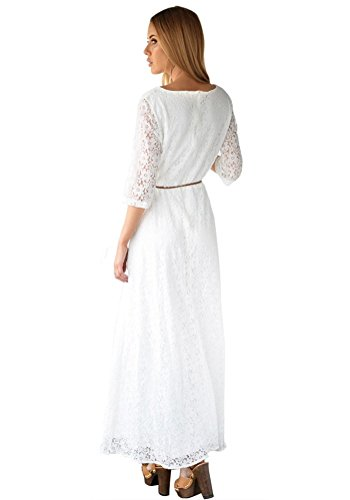 Lookbookstore Womens White 34 Sleeve Wedding Plus Size Lace Maxi