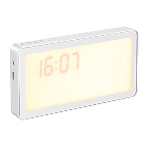 AMIR Portable Wake-up Light with Sunrise Simulation, Digital LED Alarm Clock, 8 Natural Sounds, 3-Level Dimmable Night Light, Rechargeable (Warm White1)
