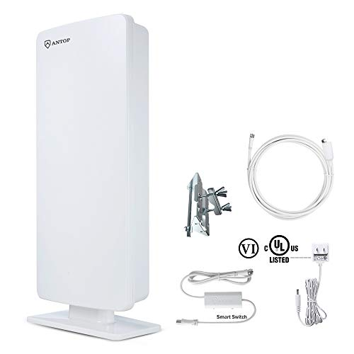 ANTOP ANTENNA 'Big Boy' AT-400B Flat Panel HDTV Antenna with Smartpass Amplified Outdoor/Indoor,80 Miles Range Support 4K 1080p Channels & All Older TV's for Outdoor, Attic,40ft Coax Cable