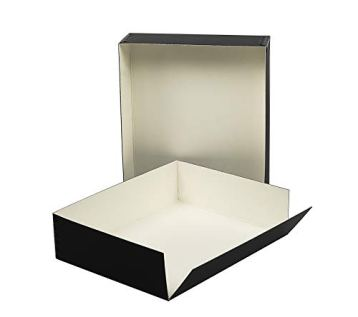 Lineco-Museum-Archival-Drop-Front-Storage-Box-Acid-Free-Metal-Edges-Lignin-Free-Removable-Lid-85-X-105-X-3-Inches-Photo-Organizer-Store-and-Protect-Prints-Black-Exterior