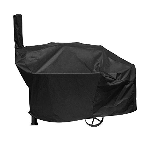 UNICOOK Heavy Duty Waterproof Charcoal Grill and Offset Smoker Cover, Outdoor Smokestack BBQ Cover, Special Fade and UV Resistant Material, Fits Brinkmann Trailmaster, Char-Broil, Dyna-Glo and More