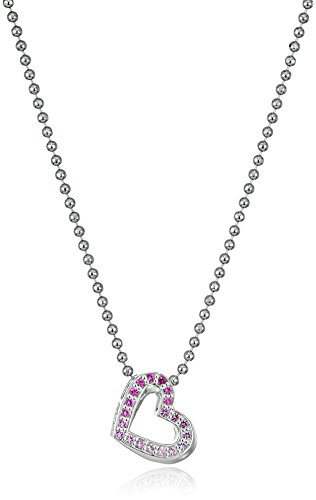 31fIVdBT%2BzL Items containing natural stones may have slight variances in size, shape and color Sterling Silver heart necklace featuring ombre set pink sapphires, precision cut by Swarovski Sterling Silver geometric shaped heart necklace set with  genuine Swarovski ombré colored pink sapphires